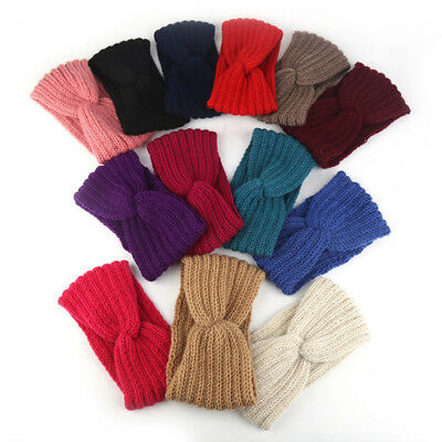 Women Winter Hair band Turban Knitted Winter  Bow Knot Accessories Headband