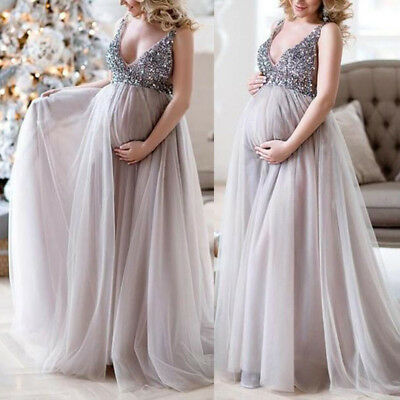 New Elegant Women Maternity Pregnant Sequin Evening Dress Cocktail Party Gown