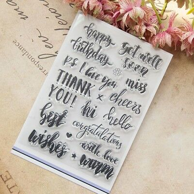 Words Text Transparent Silicone Clear Rubber Stamp Cling Scrapbooking DIY K6