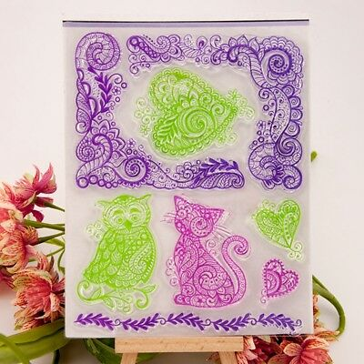 Lace Animal Corner Silicone Rubber Stamp DIY Cling Diary Scrapbooking K6