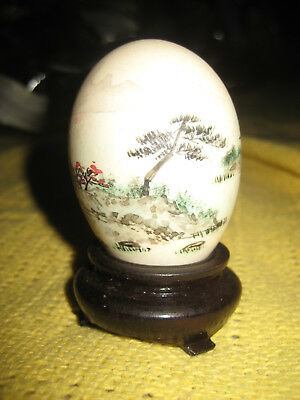 Antique Chinese Egg Painted Landscape Decoration with Signature