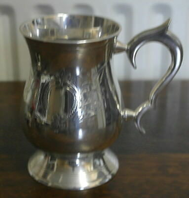 antique silver plate etched TANKARD