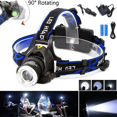 12000LM CREE XML T6 LED Zoom Zoomable Adjustable 18650 HeadLamp Headlight 4 Mode