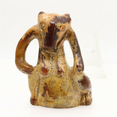 Chinese hongshan culture jade carved brown sitting bear amulet decoration L345