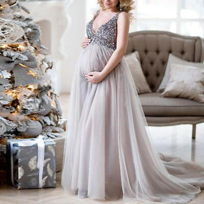 Pregnant Lady Dress Maternity Gown Soft Long Dresses Photography Props AU
