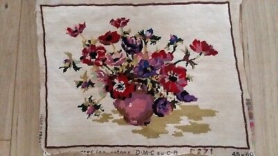 """Handworked completed  tapestry """"ANEMONES"""" 49cm x 38cm (approx 19""""x15"""")"""
