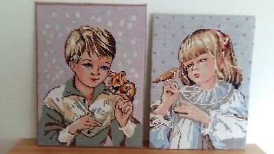 """Handworked completed tapestry """"BOY & GIRL """" see description"""