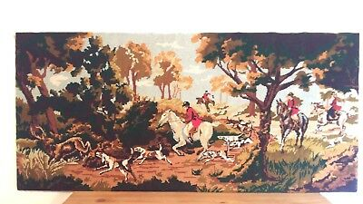"""Handworked completed tapestry """"THE CHASE"""" 100cm x 47cm (approx 39"""" x 18"""")"""