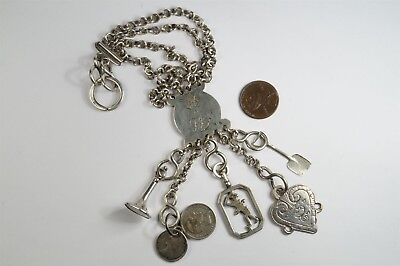 ANTIQUE GEORGIAN ENGLISH SILVER CHATELAINE & FOBS CHARMS c1800 ELIZABETH MORLEY