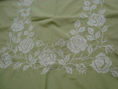 """Handmade CROSS STITCH  FABRIC TABLECLOTH White ROSES scalloped 50"""" x 68"""" Green"""