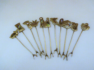 Vintage Mexican Silver Abalone Cocktail Picks ,Set of 11, Hand made.