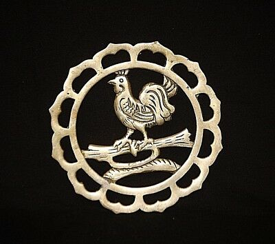 Vintage Solid Brass Rooster Trivet Round Chicken Country Kitchen Farm Wall Decor