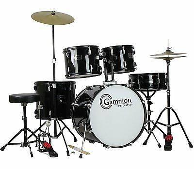 Gammon Full Size Complete Adult 5 Pc Drum Set Cymbals Stands Stool Sticks Black