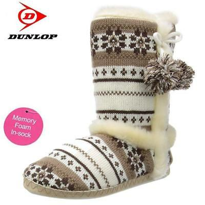 Ladies Slippers Womens Dunlop Boots Ankle Fairisle Winter Warm Fur Booties Size