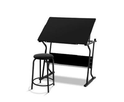Tilt Adjustable Drafting Tabletop Drawing Art Table Computer Study Desk w/ Stool