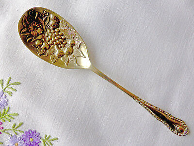 "Vintage Silver-Plated Embossed Spoon 8"" Sheffield circa 1900 Excellent Condition"