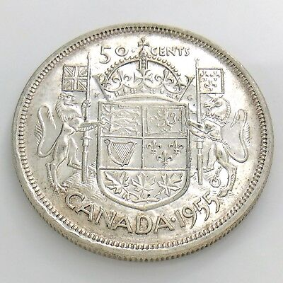 1955 Canada 50 Fifty Cent Half Dollar Silver Elizabeth II Circulated Coin I233
