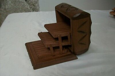 Vintage French Wooden cigarette dispenser box, cantilever. Carved wood #72B
