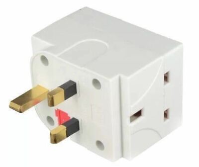 3 Way Socket Adaptor Multi Plug Fused Adapter Uk Mains 240V Ac Three Sockets