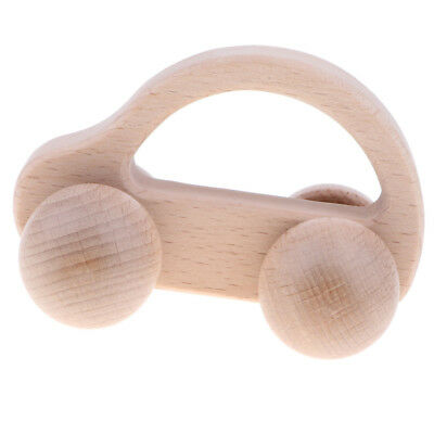 Montessori Natural Wooden Rattle Teether Baby Teething Development Toy - Car