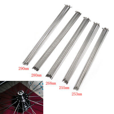 10PCS 14G Bike Bicycle Spokes Nipples 253~290mm Stainless Steel Spoke Sliver GY