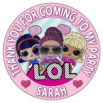 Personalised LOL Surprise Stickers Birthday Party Thank You Sweet Cone Bag Seals