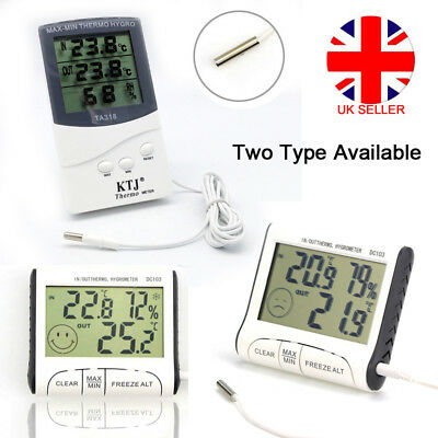LCD Digital Indoor ℃/℉ Thermometer Hygrometer Humidity Meter with Probe Sensor