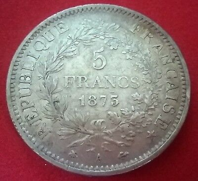 Piece ARGENT 5 Francs Hercule 1873 A Silver french coin SUP