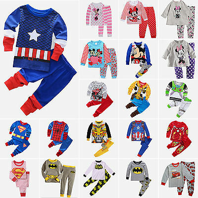 Toddler Kid Girls Boys Superhero 2Pcs Outfits Set Leisure Wear Clothes For 1-8Y