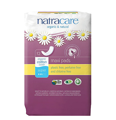 New Natracare Maxi Pads Super with Organic Cotton Cover 12 each