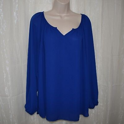 cc70266aa98 Dressbarn Womens Plus Size 1X XL Blue V Neck Flowy Long Sleeve Shirt Top  Blouse