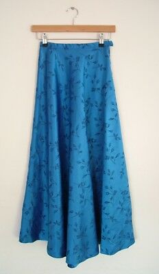Vintage 50s 60s child's rockabilly blue floral jacquard satin flared skirt, w20""