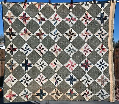 Civil War Era Stars Antique Quilt 1868 Hand Made Cotton~Provenance