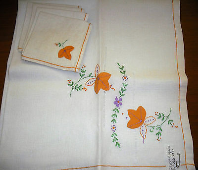 Vintage Hand Embroidered and Applique Luncheon Cloth & Napkins