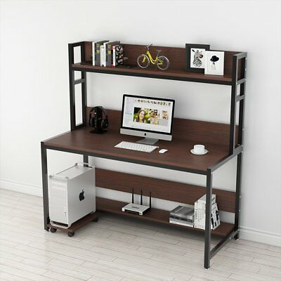 Brown 47/55'' Computer Study Desk with Hutch Bookshelf Working Table Workstation