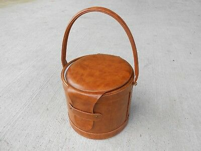 Vintage Georges Briard Bar Ice Bucket Faux Leather with Handle Mid Century
