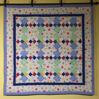 NEW Baby Quilt Boys Girls Circles Squares in Squares Colorful Dots Handmade NEW