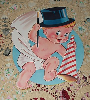 Vtg Eureka Diecut Happy New Year Baby Tophat Cardboard Decoration Nos Mint