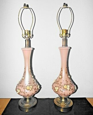 Lamps A Pair Of High Quality Fancy Hollywood Regency Glass & Brass Table Lamps