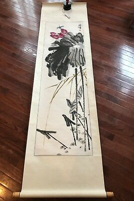 Signed Chinese Scroll Wall Hanging Watercolor Painting with Lotus