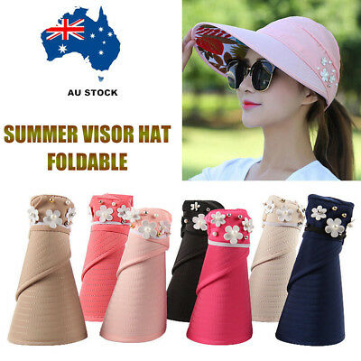 Women's Ladies Hat Outdoor Sun Cap Anti-UV Foldable Roll Up Wide Brim Summer AU