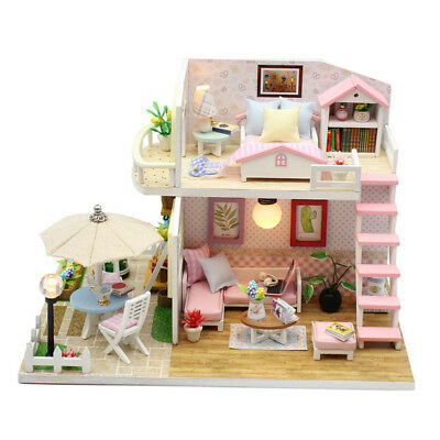DIY Loft Apartment Dollhouse Wooden Dust Cover Furniture Christmas Birthday Gift