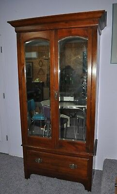 Large Antique Victorian Armoire with Beveled Mirror Doors and Shelves