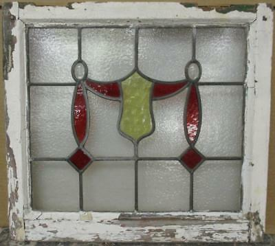 "OLD ENGLISH LEADED STAINED GLASS WINDOW Gorgeous Swag & Jewels 21"" x 19"""