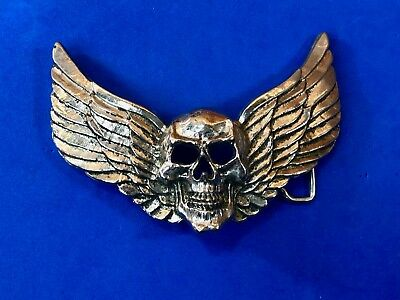 Rock Rebel  - skull with wings wide large metal  belt buckle