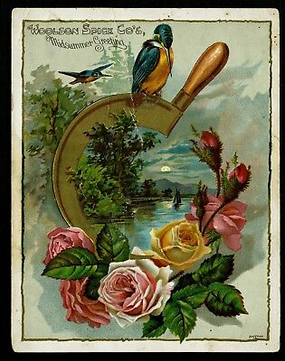 Vintage late 1800's Lion Coffee, Birds w/ Rose, Victorian trade card #38