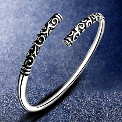 Silver Vintage Viking Open The Cuff Bracelet Bangle Indian Jewelry For Men Gift