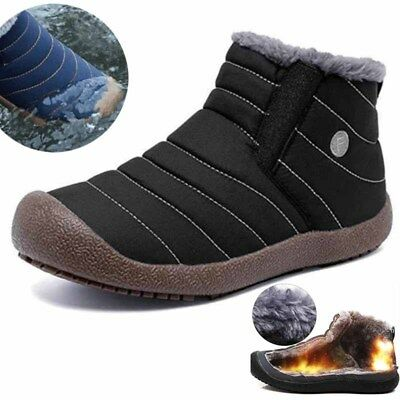 Men's Snow Boots  Winter Fur Lined Thermal Warm High Top Casual Shoes Anti-slip