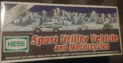 2004 Hess Truck Sport Utility Vehicle And Motorcycles New In Box
