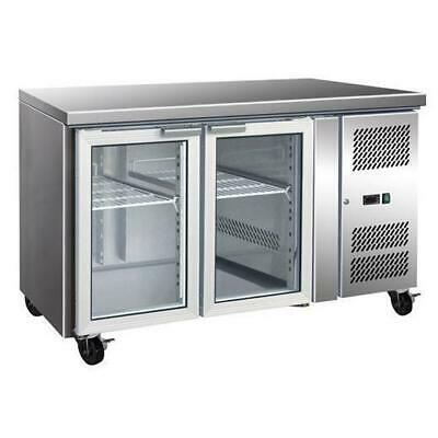 Bench Fridge with Glass Front, 2 Door Gastronorm Refrigerator, 1360x700x850mm